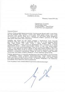 List Prezydenta Rzeczypospolitej Polskiej Andrzeja Dudy do Organizatorów i Uczestników Biegu TROPEM WILCZYM