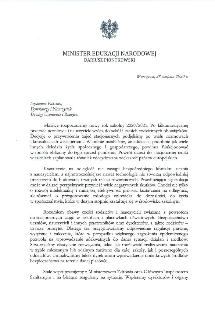 List Ministra Edukacji Narodowej