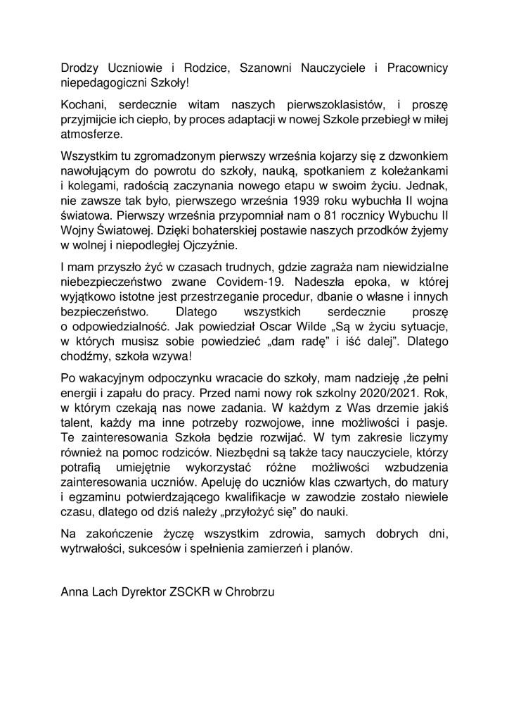 Życzenia Dyrektora ZSCKR w Chrobrzu na rozpoczynający sie nowy rok szkolny